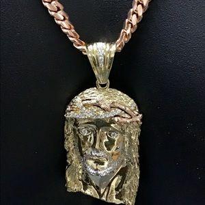 Other - 14K Rose/Yellow Gold Jesus Piece & Cuban Link Set